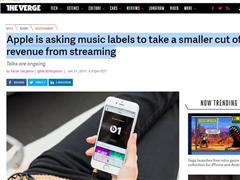 苹果音乐协议将到期:希望降低流媒体音乐的费率