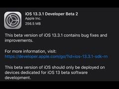 苹果凌晨推送iOS 13.3.1/iPadOS 13.3.1 Beta 2开发者预览版