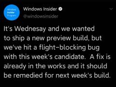 出现阻塞性Bug!微软宣布Win10快速预览版本周无推送