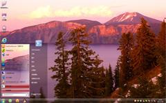 火山湖景win7系统主题