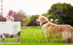 草地上的狗狗与女孩xp主题