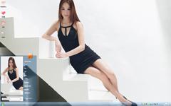 黑色短裙美女Win7主题