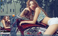 摩托车美女Win7主题