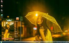 唯美又伤感的打伞女孩Win7主题