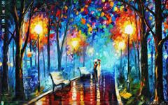 雨中漫步油画风景Win7主题