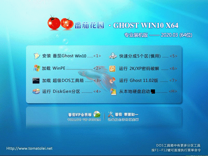 番茄花园 GHOST WIN10 X64 专业装机版 V2020.03