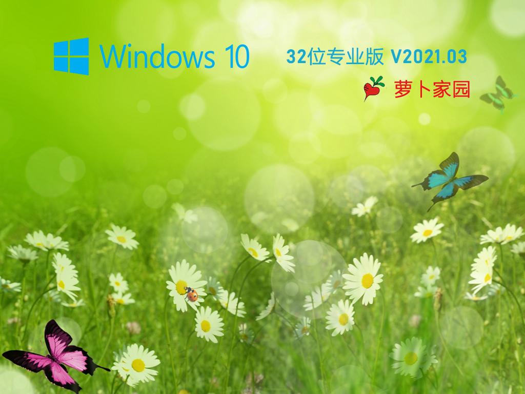 萝卜家园 Ghost Win10 32位 纯净专业版 V2021.03